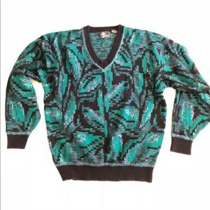 Vintage 80's All over print Knit Sweater